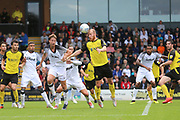 Burton Albion forward Liam Boyce (27) heads at goal during the Pre-Season Friendly match between Burton Albion and Derby County at the Pirelli Stadium, Burton upon Trent, England on 20 July 2019.