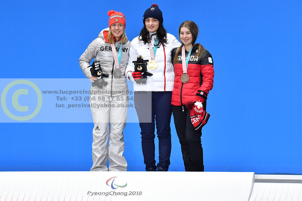 BOCHET Marie LW6/8-2 FRA, ROTHFUSS Andrea LW6/8-2 GER, JEPSEN Mollie LW6/8-2 CAN, ParaSkiAlpin, Para Alpine Skiing, Downhill, Descente, Podium at PyeongChang2018 Winter Paralympic Games, South Korea.