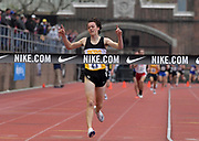 Apr 27, 2018; Philadelphia, PA, USA; Devin Hart celebrates after winning the boys championship 3,000m in 8;22.24 during the 124th Penn Relays at Franklin Field.