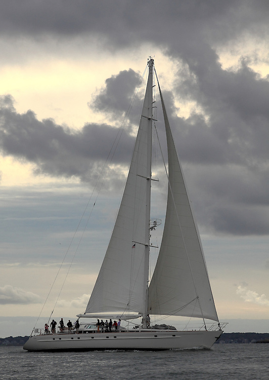 S/Y Azzura finishes at the 2010 Newport Bucket. Super yachts racing in the 2010 Newport Bucket.