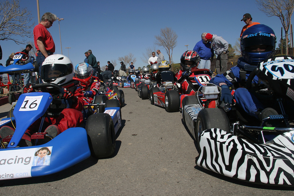 The young go kart drivers waiting on the line to start the race in Prim Nevada Saturday march 3 .2007.....