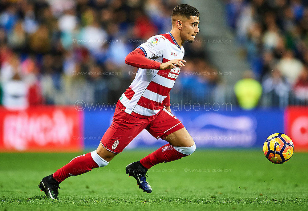 MALAGA, SPAIN - DECEMBER 09:  Andreas Pereira of Granada CF in action during La Liga match between Malaga CF and Granada CF at La Rosaleda Stadium December 9, 2016 in Malaga, Spain.  (Photo by Aitor Alcalde Colomer/Getty Images)