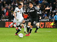 Football - 2019 / 2020 Sky Bet (EFL) Championship - Swansea City vs. Derby County<br /> <br /> Rhian Brewster of Swansea City challenged by Craig Forsyth of Derby County & Curtis Davie of Derby Countys, at The Liberty Stadium.<br /> <br /> COLORSPORT/WINSTON BYNORTH