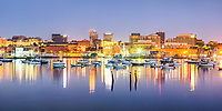 Portland Harbor and the heart of downtown Portland are featured in this panorama created at 5:35 AM on September 3, 2015.