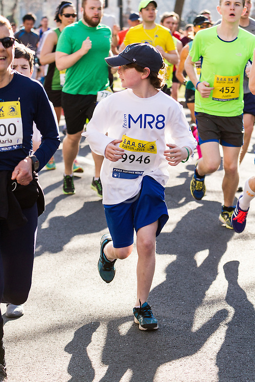 Boston Marathon: BAA 5K road race, young runner for Team Martin Richard