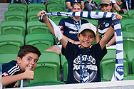MELBOURNE, AUSTRALIA - APRIL 14: Young Victory fans show their support during round 25 of the Hyundai A-League match between Melbourne Victory and Central Coast Mariners on April 14, 2019 at AAMI Park in Melbourne, Australia. (Photo by Speed Media/Icon Sportswire)