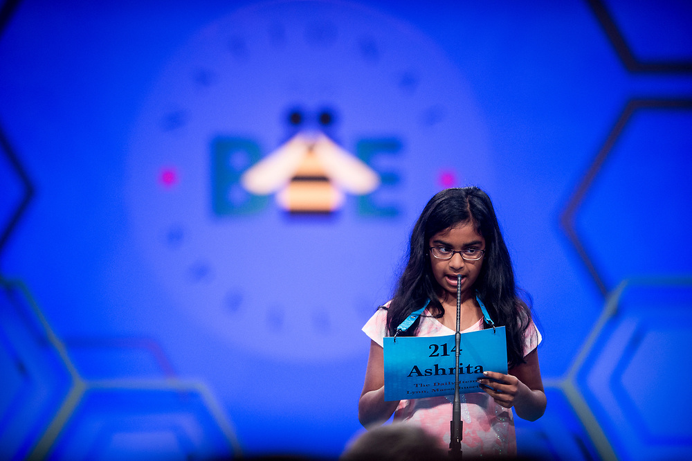 Ashrita Gandhari, 10, from North Andover, Mass., participates in the finals of the 2017 Scripps National Spelling Bee on Thursday, June 1, 2017 at the Gaylord National Resort and Convention Center at National Harbor in Oxon Hill, Md.      Photo by Pete Marovich/UPI
