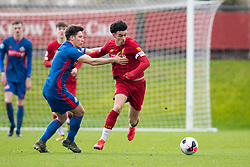 LIVERPOOL, ENGLAND - Monday, February 24, 2020: Liverpool's captain Curtis Jones (R) and Sunderland's captain Ruben Sammut during the Premier League Cup Group F match between Liverpool FC Under-23's and AFC Sunderland Under-23's at the Liverpool Academy. (Pic by David Rawcliffe/Propaganda)