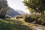 Mergozzo, family reunion with motor homes in at the lake