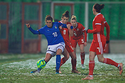 CESENA, ITALY - Tuesday, January 22, 2019: Italy's Christiana Girelli and Wales' Angharad James during the International Friendly between Italy and Wales at the Stadio Dino Manuzzi. (Pic by David Rawcliffe/Propaganda)