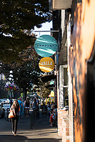 Downtown Victoria BC features colorful flower baskets, interesting shops and tasty cafes along the pedestrian and bike-friendly streets.