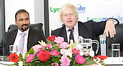 Boris Johnson <br /> Mayor of London <br /> visits Lycamobile Global HQ in Docklands, London, Great Britain <br /> 21st July 2011 <br /> <br /> <br /> <br /> Subaskaram Allirajah (Group Chairman)<br /> <br /> Boris Johnson <br /> London Mayor<br /> <br /> <br /> Photograph by Elliott Franks