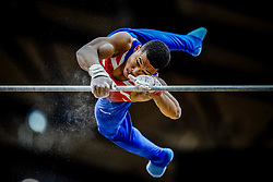 October 29, 2018 - Doha, Qatar - Joe Fraser of  Great Britain   during  High Bar, Team final for Men at the Aspire Dome in Doha, Qatar, Artistic FIG Gymnastics World Championships on October 29, 2018. (Credit Image: © Ulrik Pedersen/NurPhoto via ZUMA Press)