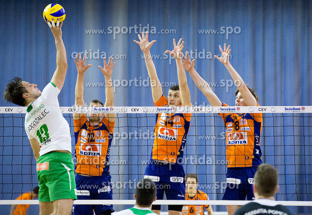 Aljosa Bogozalec of Panvita vs Gregor Ropret, Ivan Mihalj and Jan Klobucar of ACH during volleyball game between OK ACH Volley and OK Panvita Pomgrad in 1st final match of Slovenian National Championship 2013/14, on April 6, 2014 in Arena Tivoli, Ljubljana, Slovenia. Photo by Vid Ponikvar / Sportida