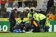 Barnsley FC defender Adam Jackson (18) receives treatment for injury during the EFL Sky Bet Championship match between Hull City and Barnsley at the KCOM Stadium, Kingston upon Hull, England on 27 February 2018. Picture by Ian Lyall.