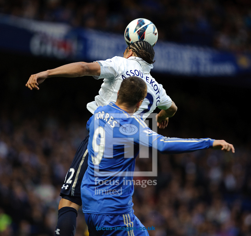 Picture by Gerald O'Rourke/Focus Images Ltd +44 7500 165179.08/05/2013.Fernando Torres of Chelsea and Benoit Assou-Ekotto of Tottenham Hotspur during the Barclays Premier League match at Stamford Bridge, London.