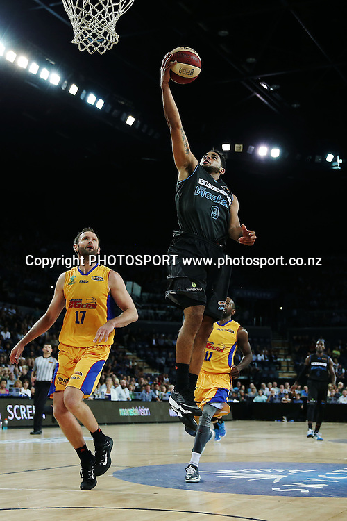 Corey Webster of the Breakers scores on the fastbreak. 2014/15 ANBL, SkyCity Breakers vs Adelaide 36ers, Vector Arena, Auckland, New Zealand. Thursday 12 February 2015. Photo: Anthony Au-Yeung / www.photosport.co.nz