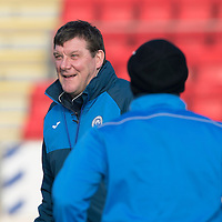 St Johnstone Training…27.01.17<br />Manager Tommy Wright at a very cold McDiarmid Park this monring ahead of tomorrows game against Hamilton Accies<br />Picture by Graeme Hart.<br />Copyright Perthshire Picture Agency<br />Tel: 01738 623350  Mobile: 07990 594431