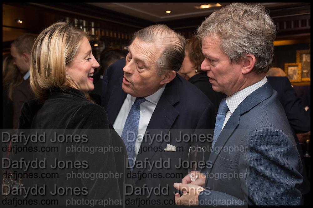 FLORA MONTGOMERY-JESEN; DAVID KER; SOREN JESEN, Ralph Lauren host launch party for Nicky Haslam's book ' A Designer's Life' published by Jacqui Small. Ralph Lauren, 1 Bond St. London. 19 November 2014