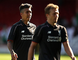Liverpool's Roberto Firmino and Lucas - Mandatory by-line: Robbie Stephenson/JMP - 07966386802 - 02/08/2015 - SPORT - FOOTBALL - Swindon,England - County Ground - Swindon Town v Liverpool - Pre-Season Friendly