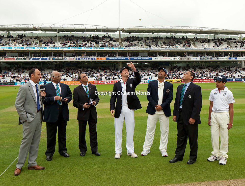 The toss before the first npower Test Match between England and India at Lord's Cricket Ground, London.  Photo: Graham Morris (Tel: +44(0)20 8969 4192 Email: sales@cricketpix.com) 21/07/11