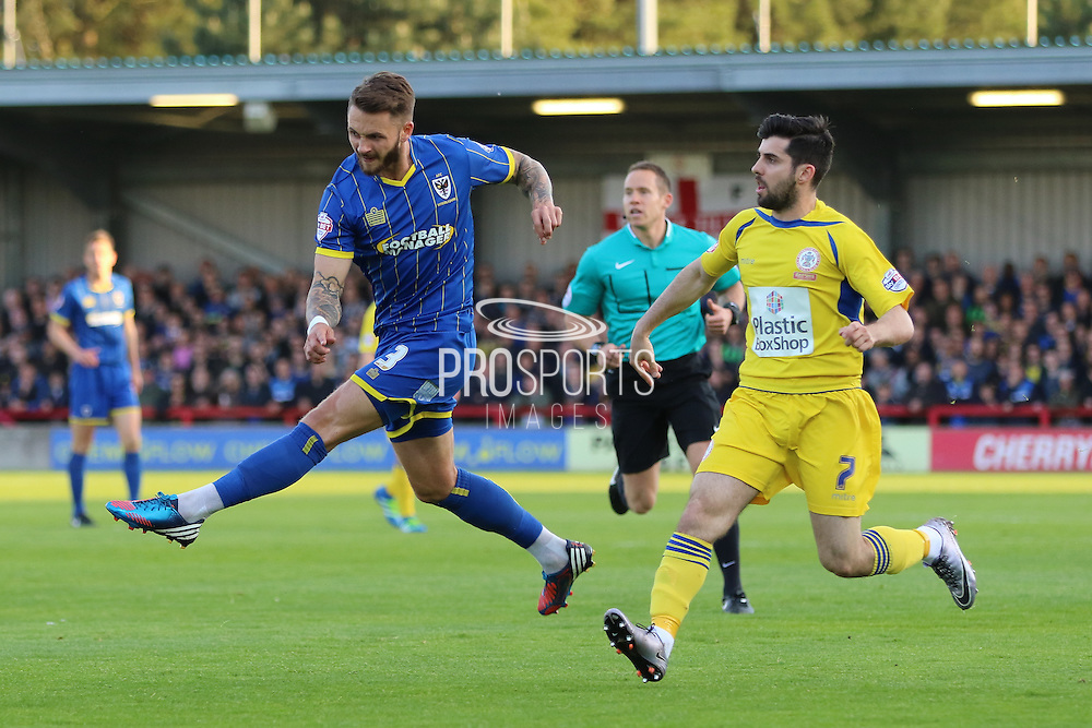 Callum Kennedy defender for AFC Wimbledon (3) during  the Sky Bet League 2 Play-Off first leg match between AFC Wimbledon and Accrington Stanley at the Cherry Red Records Stadium, Kingston, England on 14 May 2016. Photo by Stuart Butcher.