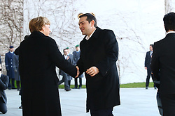 23.03.2015, Bundeskanzleramt, Berlin, GER, SPO, Merkel empfängt Tsipras, im Bild Bundeskanzlerin Angela Merkel (CDU) und Alexis Tsipras (SYRIZA), griechischer Premierminister, begruessen sich, Empfang des griechischen Ministerpraesidenten Alexis Tsipras // German Chancellor Angela Merkel welcomes Greek Prime Minister Alexis Tsipras at the Bundeskanzleramt in Berlin, Germany on 2015/03/23. EXPA Pictures © 2015, PhotoCredit: EXPA/ Eibner-Pressefoto/ Hundt<br /> <br /> *****ATTENTION - OUT of GER*****