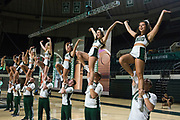 AUGUST 26, 2018  ATHENS, OHIO:<br /> Ohio University cheerleaders perform and greet new freshman students as they arrive and are seated in the Convocation Center before the start of the freshman convocation at Ohio University on August 26, 2018 in Athens, Ohio.