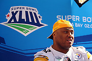 TAMPA, FL - JANUARY 27: Defensive tackle Casey Hampton #98 of the AFC Pittsburgh Steelers speaks to the media during Super Bowl XLIII Media Day at Raymond James Stadium on January 27, 2009 in Tampa, Florida. ©Paul Anthony Spinelli *** Local Caption *** Casey Hampton