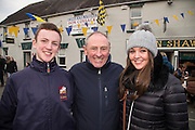 19th March 2016, Gordon Elliott trained Don Cossack homecoming to Summerhill<br /> Kevin Coleman (Manager of Bellewstown & Laytown Races) pictured with his son Daniel & daughter Laura waiting for the homecoming of Don Cossack in Summerhill<br /> Photo: David Mullen /www.cyberimages.net / 2016