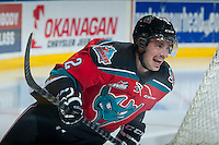 KELOWNA, CANADA - NOVEMBER 29: Jesse Lees #2 of Kelowna Rockets skates during warm up against the Regina Pats on November 29, 2014 at Prospera Place in Kelowna, British Columbia, Canada.  (Photo by Marissa Baecker/Shoot the Breeze)  *** Local Caption *** Jesse Lees;