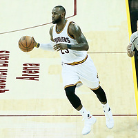 07 June 2017: Cleveland Cavaliers forward LeBron James (23) brings the ball up court during the Golden State Warriors 118-113 victory over the Cleveland Cavaliers, in game 3 of the 2017 NBA Finals, at  the Quicken Loans Arena, Cleveland, Ohio, USA.