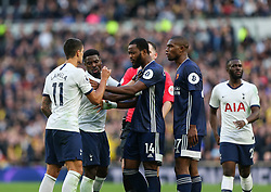 Players fromo both teams scuffle - Mandatory by-line: Arron Gent/JMP - 19/10/2019 - FOOTBALL - Tottenham Hotspur Stadium - London, England - Tottenham Hotspur v Watford - Premier League