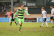 Forest Green Rovers Elliott Frear(11) and celebrates scores a goal 0-1 during the Vanarama National League match between Bromley FC and Forest Green Rovers at Hayes Lane, Bromley, United Kingdom on 7 January 2017. Photo by Shane Healey.