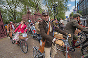 Setting off after lunch - The Tweed Run, a very British public bicycle ride through London's streets, with a prerequisite that participants are dressed in their best tweed cycling attire. Now in it's 8th year the ride follows a circular route from Clerkenwell via the Albert Memorial, Buckinham Palace and Westminster.