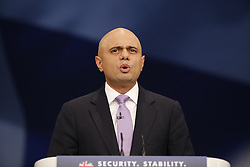 © Licensed to London News Pictures. 05/10/2015. Manchester, UK. Business Secretary Sajid Javid speaking at Conservative Party Conference at Manchester Central in Manchester on Monday, 5 October 2015. Photo credit: Tolga Akmen/LNP