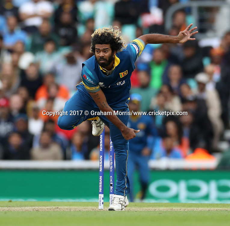 Lasith Malinga bowls during the Champions Trophy One Day International between India and Sri Lanka at The Oval. Photo: Graham Morris/www.cricketpix.com (Tel:+44(0)20 8969 4192; Email: graham@cricketpix.com) 08/06/2017