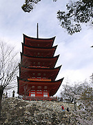 Japan, Miyajima, Itsukushima Temple Five story pagoda