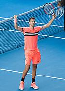 GRIGOR DIMITROV (BUL) jubelt nach seinem Sieg,Jubel,Freude,Emotion, von oben<br /> <br /> Tennis - Australian Open 2018 - Grand Slam / ATP / WTA -  Melbourne  Park - Melbourne - Victoria - Australia  - 19 January 2018.