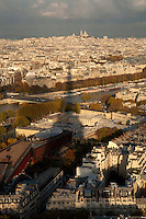 shadow of the eiffel tower and montmartre
