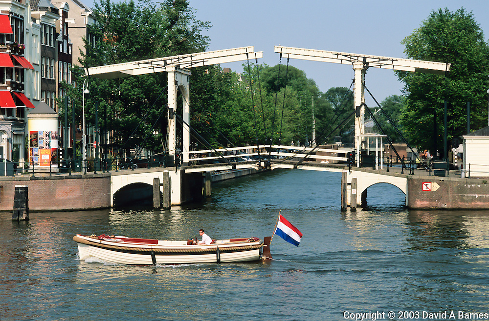 Double-leaf drawbridge, Amstel River, Amsterdam, The Netherlands