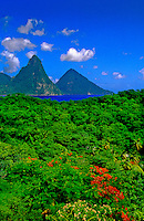 View of the Pitons from Anse Chastanet Resort, Soufriere, St. Lucia