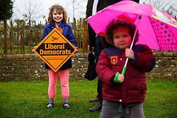 © Licensed to London News Pictures. 29/03/2015. Abingdon, UK. Liberal Democrat campaigners waiting for Nick Clegg to launch party's general election campaign at Albert Park in Abingdon on Sunday, 29 March 2015. Photo credit : Tolga Akmen/LNP