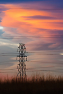 A picture of some power lines during a dramatic sunset in Colorado.<br />