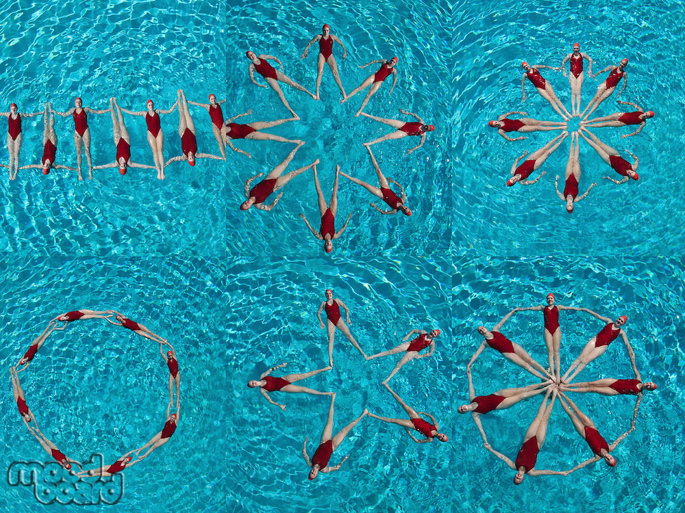 Collage of female synchronized swimmers forming various shape in swimming pool