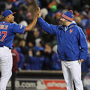 Closer Jeurys Familia, New York Mets, is congratulated by team mate Matt Harvey after victory during the MLB NLCS Playoffs game two, Chicago Cubs vs New York Mets at Citi Field, Queens, New York. USA. 18th October 2015. Photo Tim Clayton