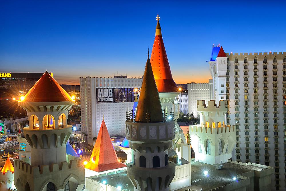 Excalibur Hotel and Casino at dusk,Las Vegas, Clark County, Nevada, USA