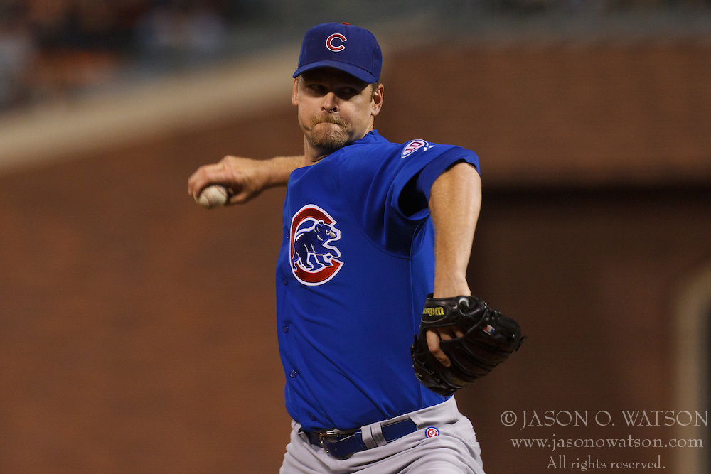 August 30, 2011; San Francisco, CA, USA;  Chicago Cubs relief pitcher Kerry Wood (34) pitches against the San Francisco Giants during the eighth inning at AT&T Park.