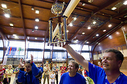 Andrea Lekic with fans Krimovci during celebration of RK Krim Mercator after the handball game between RK Krim Mercator and ZRK Krka of Liga z'dezele of Slovenian National Championship 2010/2011, on May 14, 2011 in Arena Krim Galjevica, Ljubljana, Slovenia. Krim became Slovenian National Champion 2010//2011. (Photo By Vid Ponikvar / Sportida.com)
