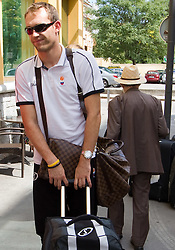 Samo Udrih at arrival of Slovenian basketball team from a friendly tournament in Spain, on August 9, 2010 at City Hotel, Ljubljana, Slovenia. (Photo by Vid Ponikvar / Sportida)
